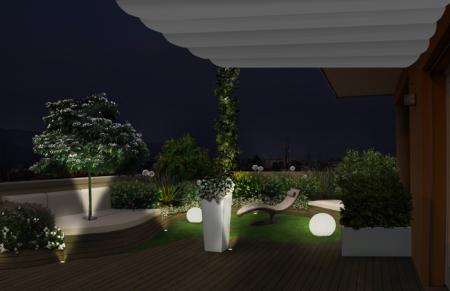 progetto giardino elaborazione fotografica notte