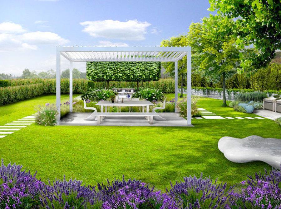 Progetti di giardini con piscina idee per la casa for Foto giardini moderni