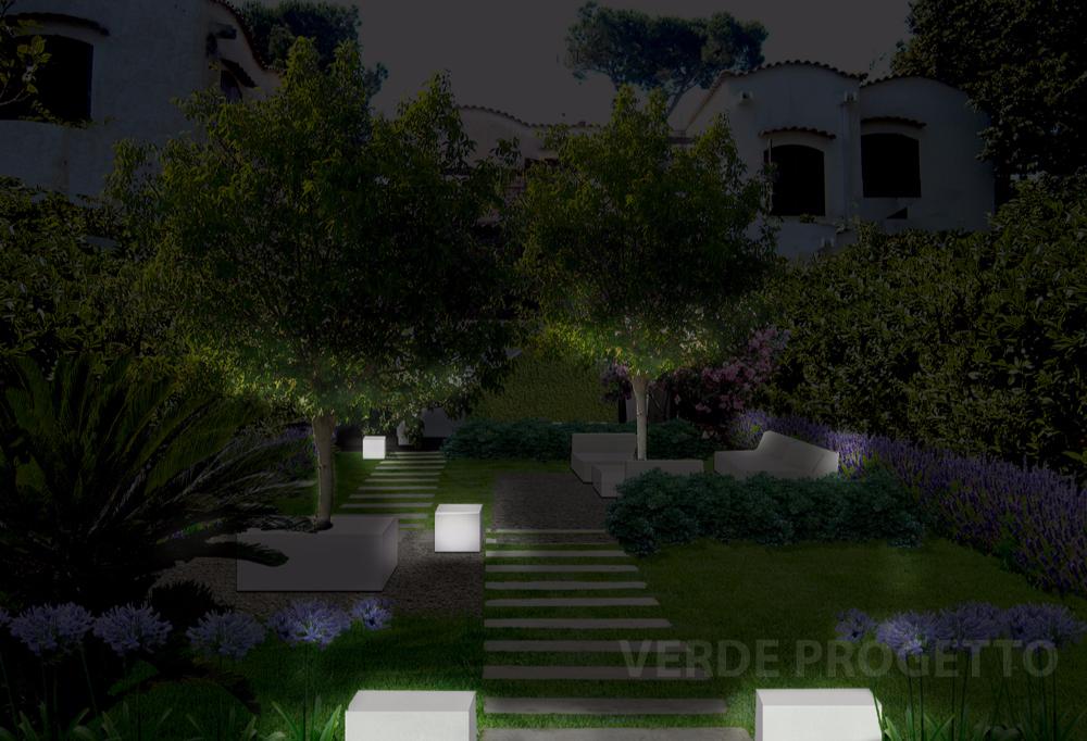 Progetto giardino a Roma di notte