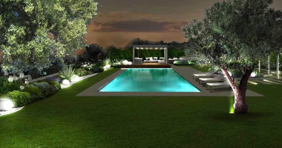 Giardini Moderni Con Piscina : Verde progetto il giardino mediterraneo con piscina