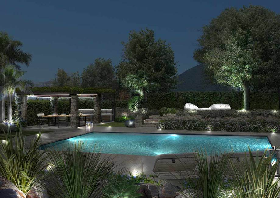 giardino con piscina design